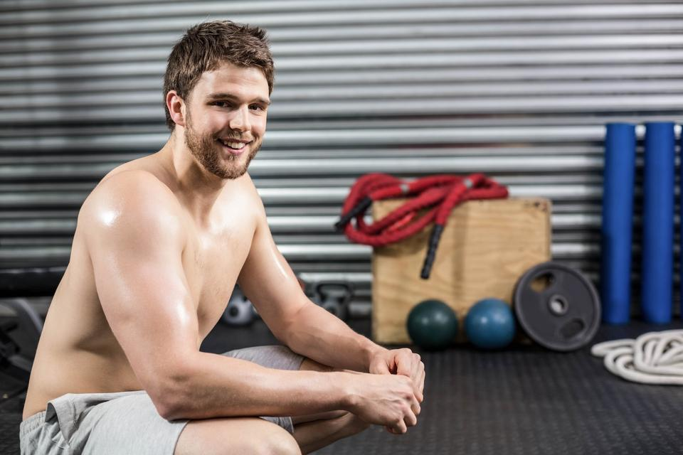 """""""Fit man taking a break from working out"""" stock image"""