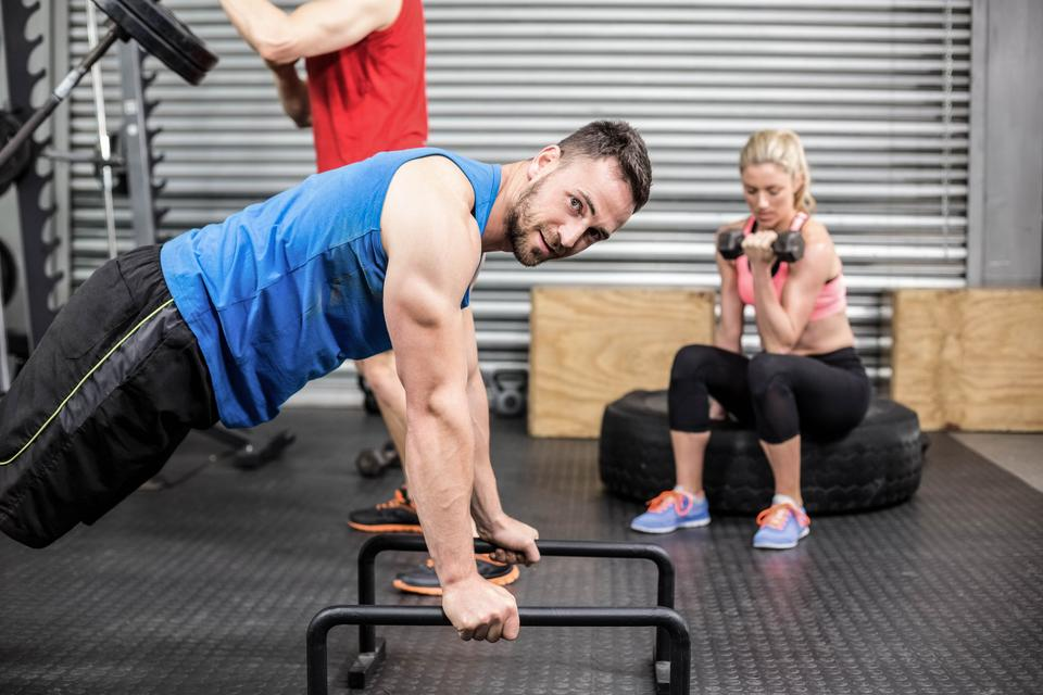 """""""Fit people doing exercises"""" stock image"""