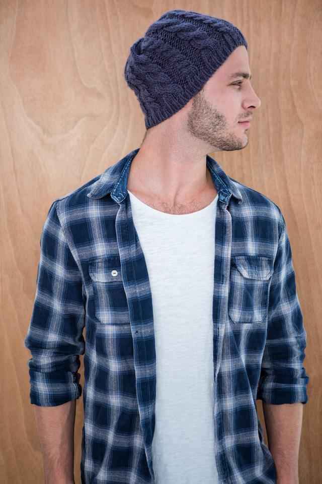 """Handsome hipster wearing a beanie hat"" stock image"