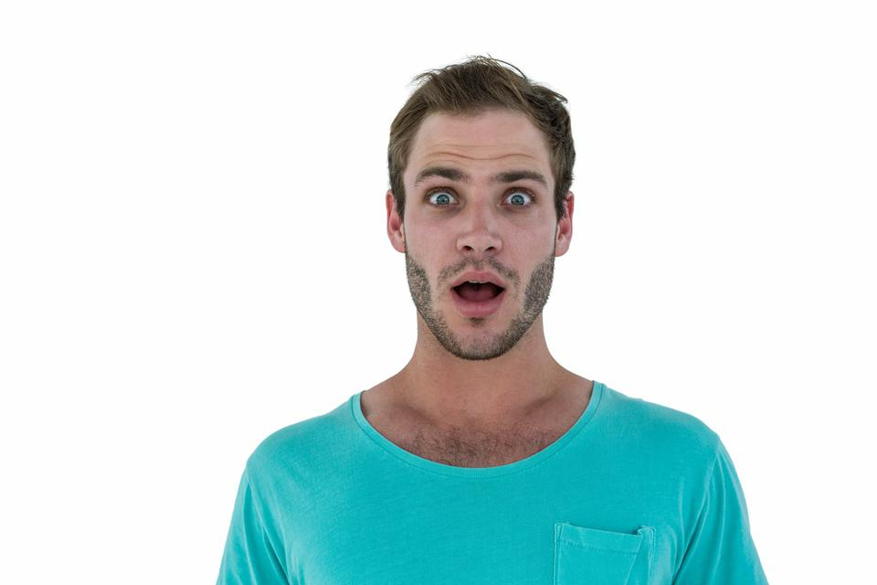 """Portrait of surprised hipster man"" stock image"
