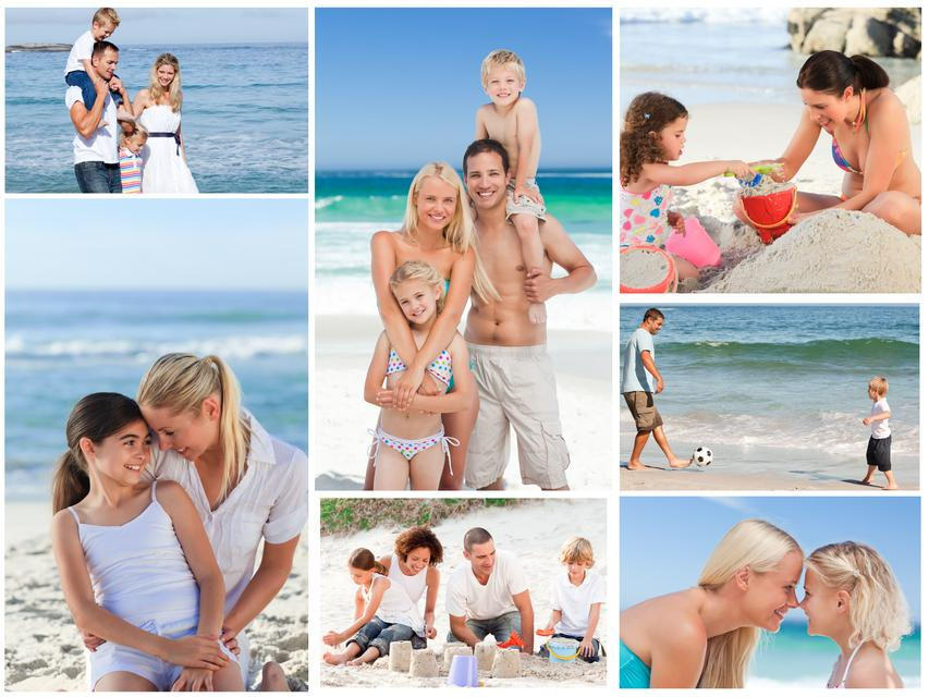 """""""Collage of a family having fun and relaxing"""" stock image"""