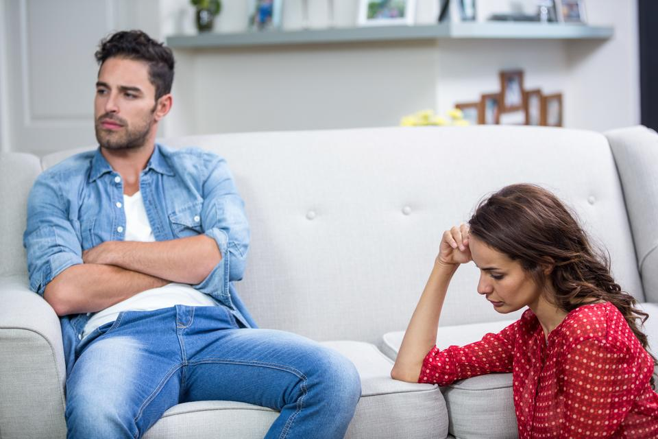"""""""Annoyed couple after argument"""" stock image"""