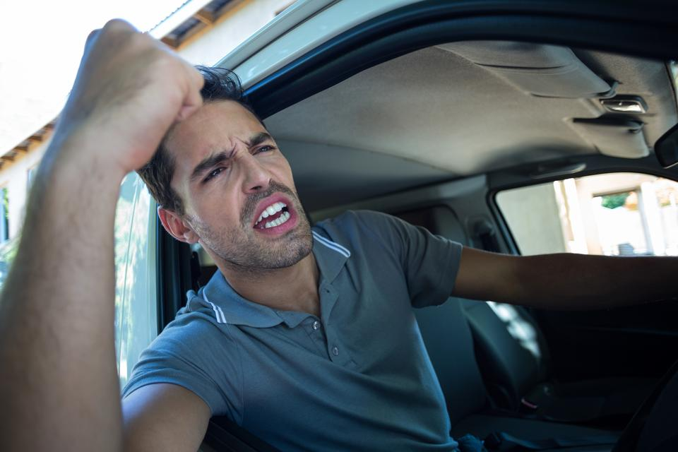 """""""Frustrated driver with fist up"""" stock image"""