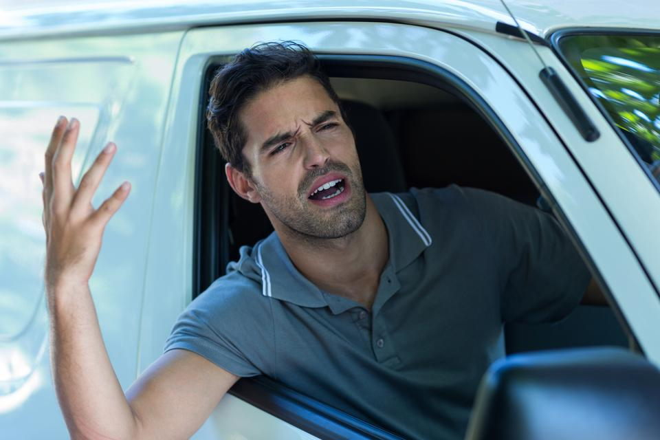 """Irritated man gesturing"" stock image"