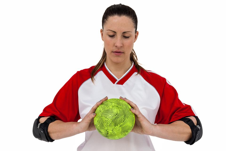 """Sportswoman holding a ball"" stock image"