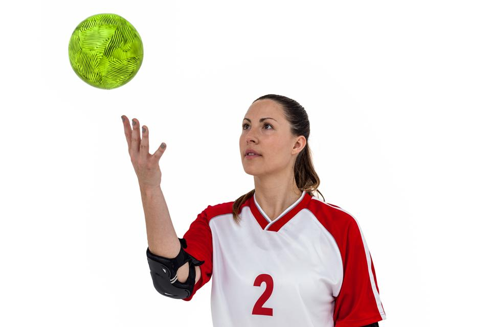 """Sportswoman playing with ball"" stock image"