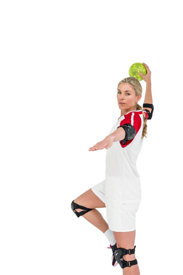 """Sportswoman throwing a ball"" stock image"