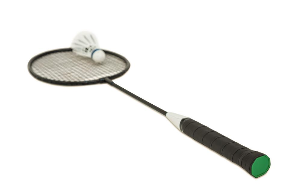 """Badminton racket with feather shuttlecock on white background"" stock image"