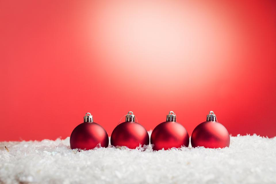 """Composite image of Christmas baubles lined up"" stock image"