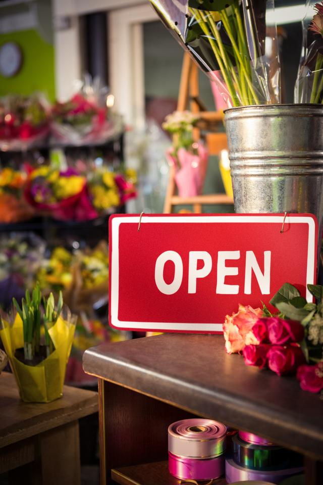 """""""Open signboard on table"""" stock image"""