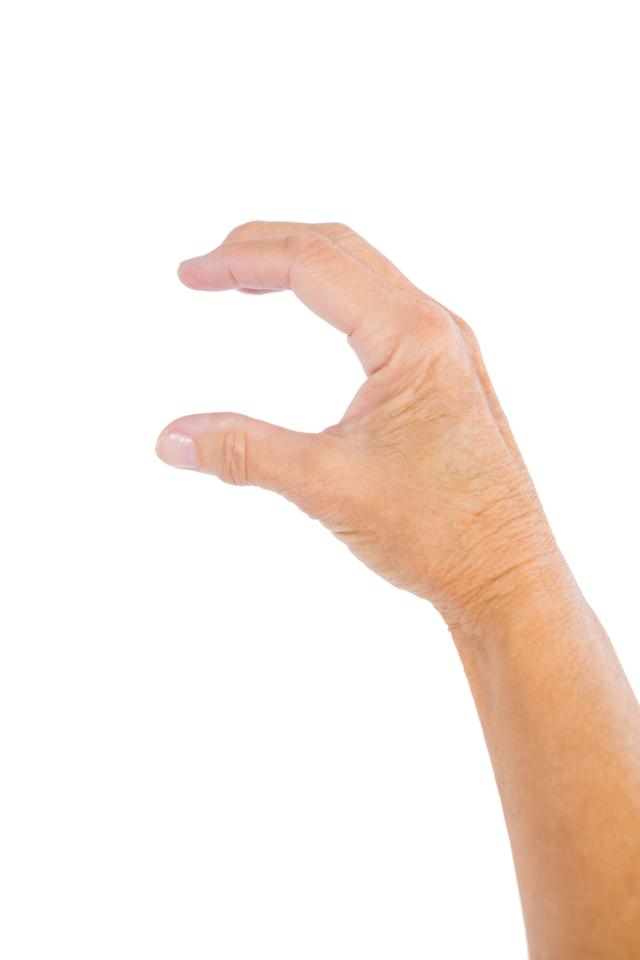"""""""Cropped image of person holding invisible product"""" stock image"""