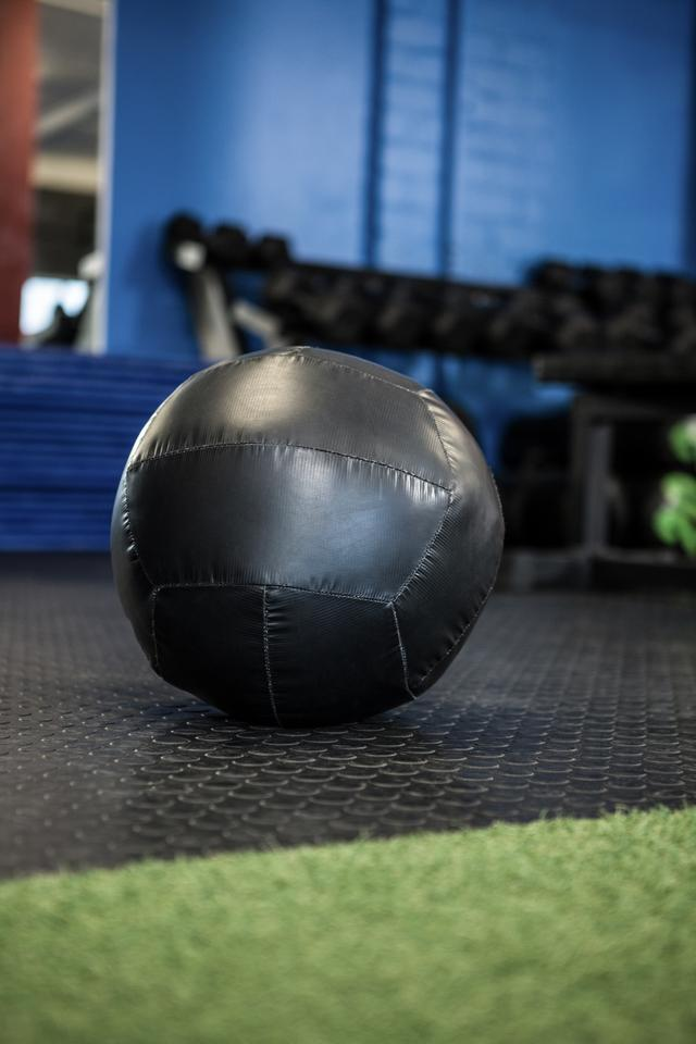 """Black exercise ball in gym"" stock image"