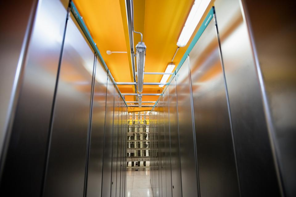 """""""Hallway with a row of server rack"""" stock image"""
