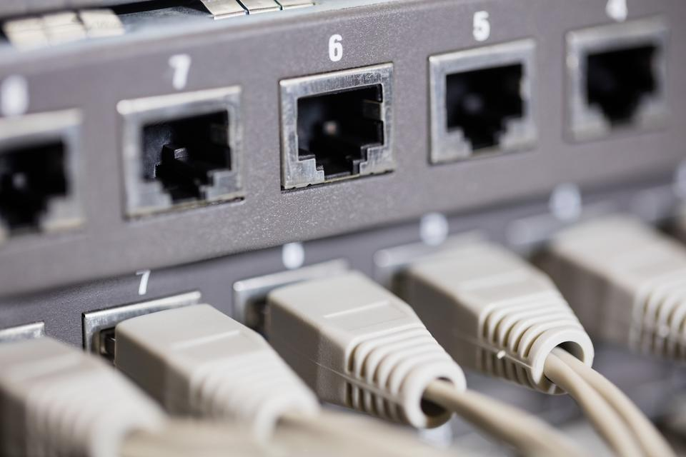 """""""Close-up of rack mounted server"""" stock image"""