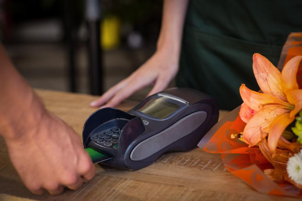 """""""Man making payment with his credit card"""" stock image"""