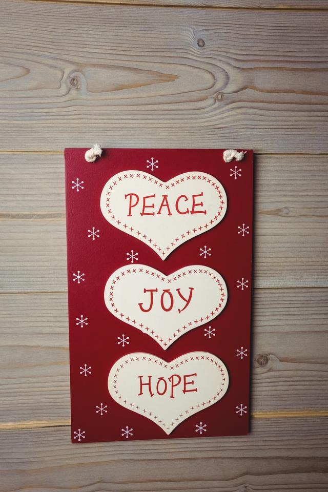 """""""Christmas label with massages of peace, joy and hope"""" stock image"""