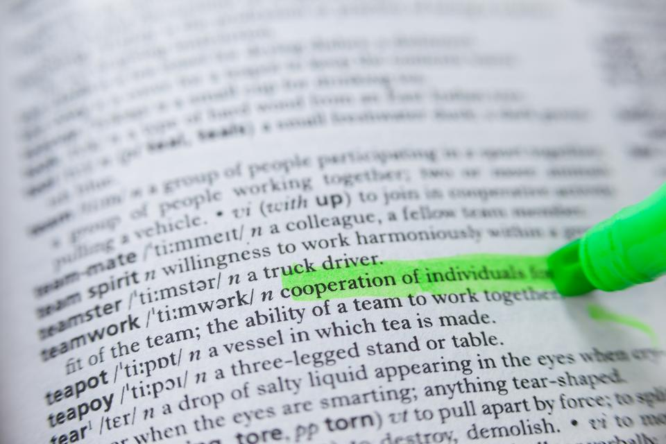 """""""Highlighted definition of teamwork in dictionary"""" stock image"""