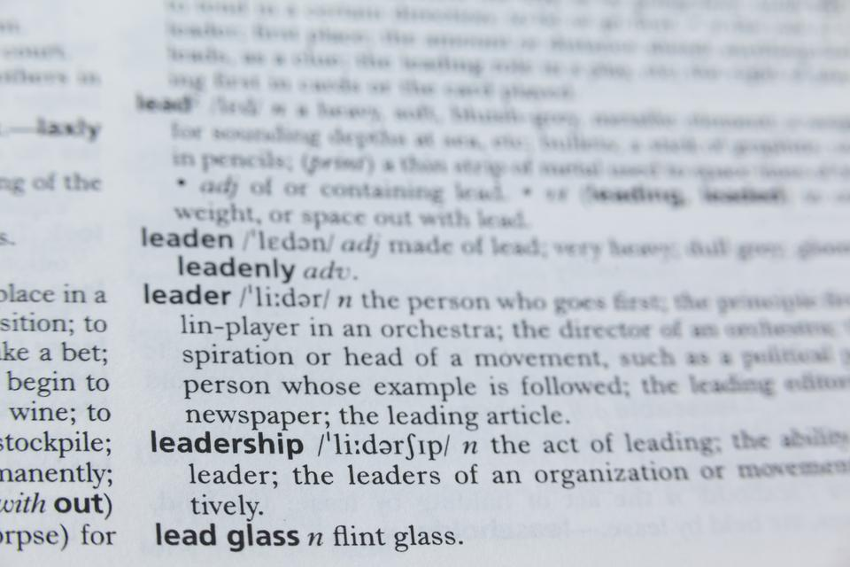 """""""Definition of leadership in dictionary"""" stock image"""