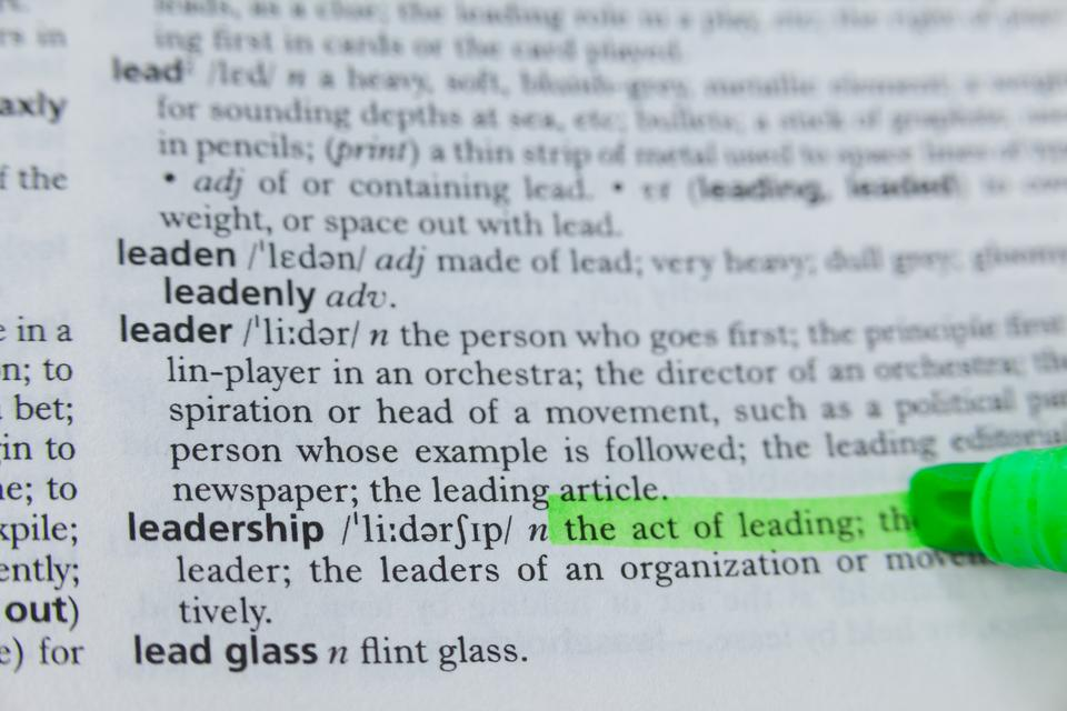 """""""Highlighted definition of leadership in dictionary"""" stock image"""
