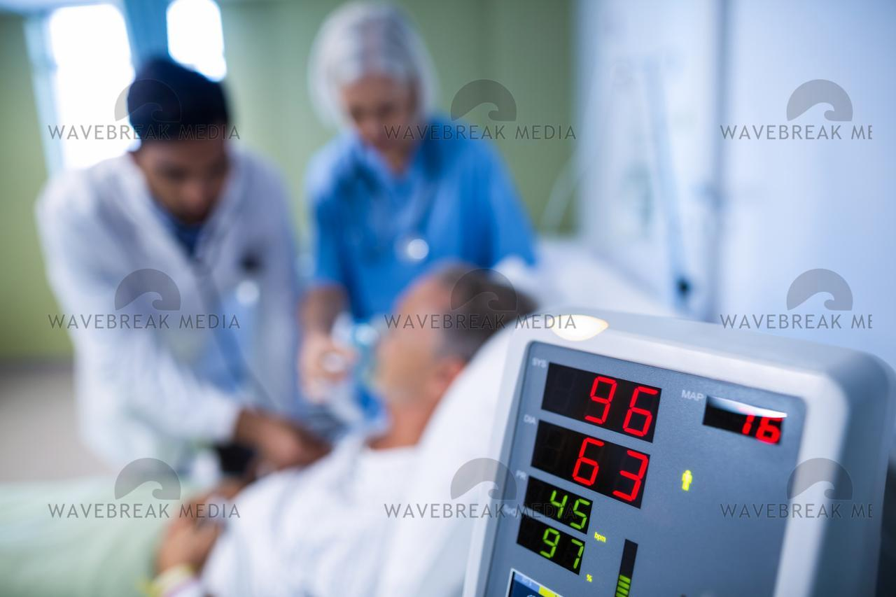 Heart rate monitor in hospital - License, download or print for