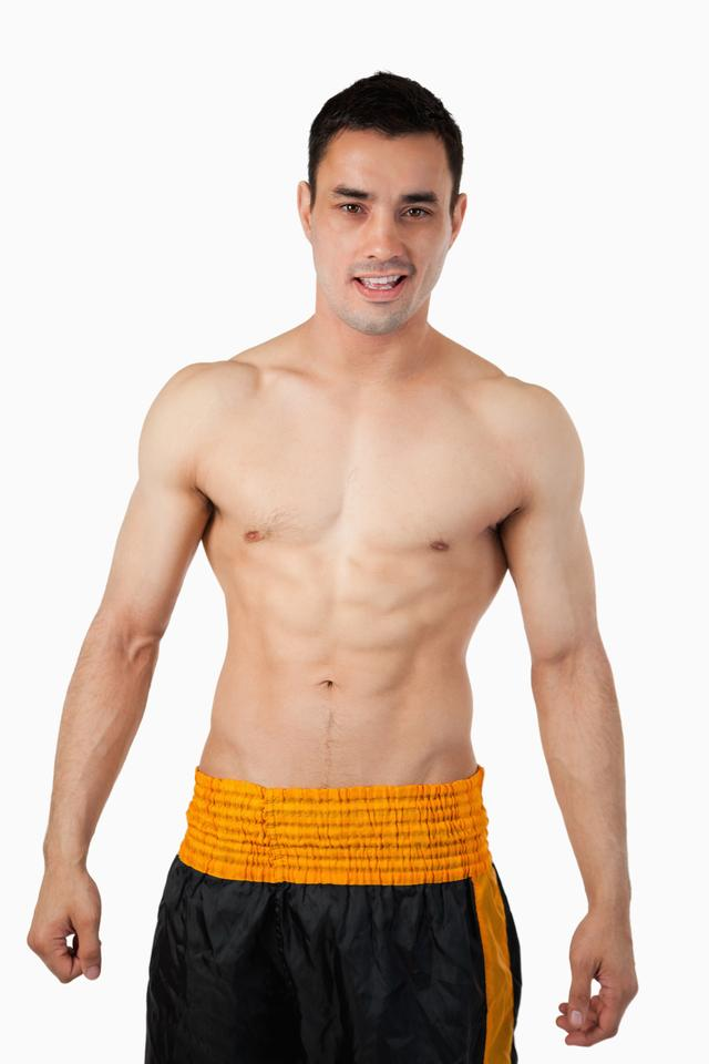 """""""Sporty young man in boxer shorts"""" stock image"""