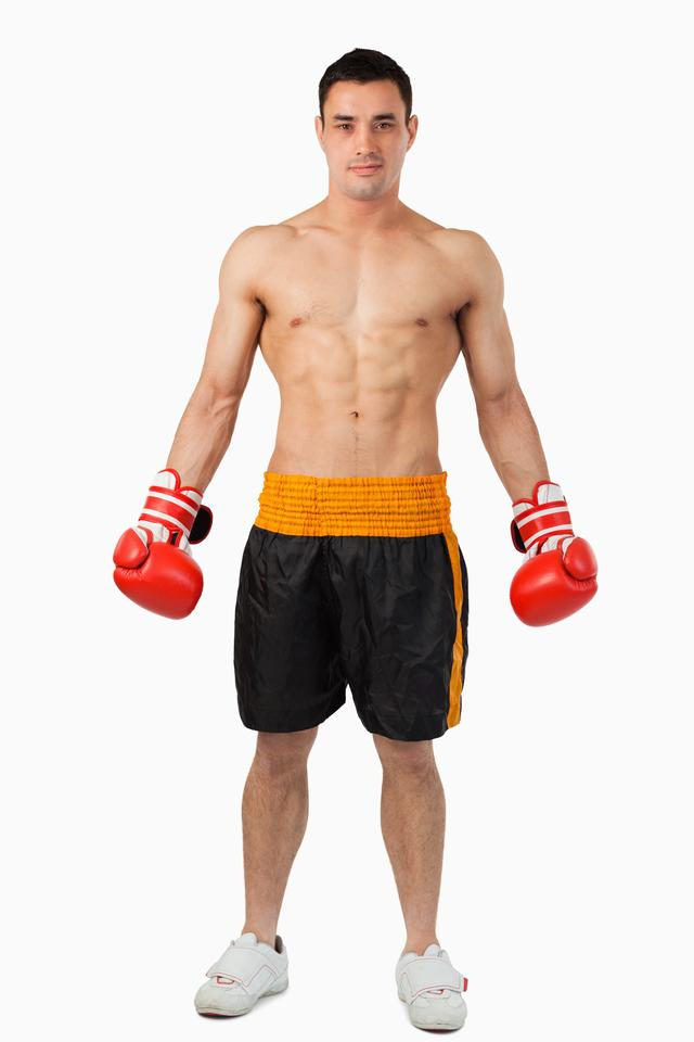 """Young boxer ready to fight"" stock image"
