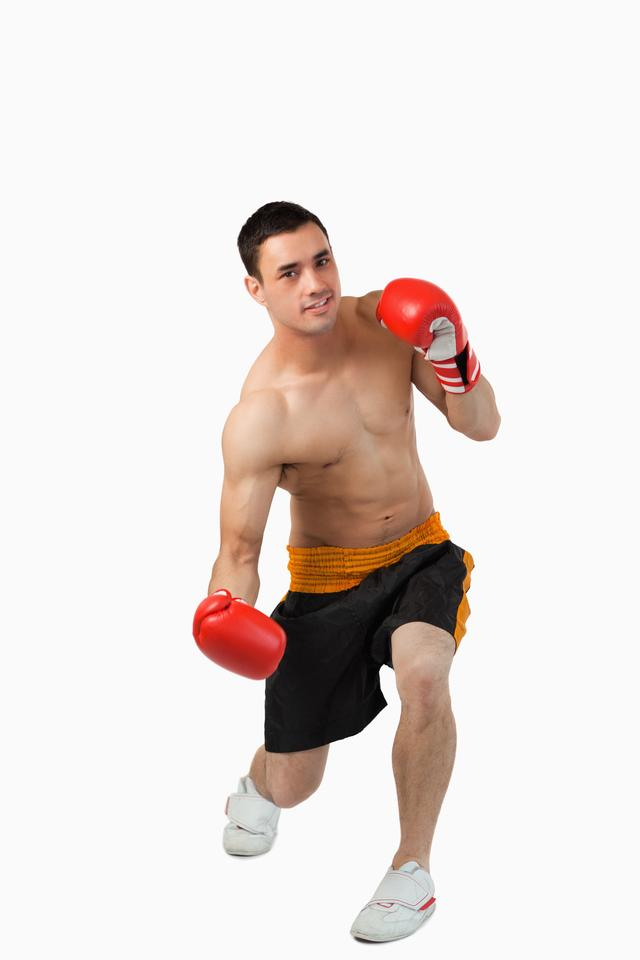 """""""Young boxer starting to perform uppercut"""" stock image"""