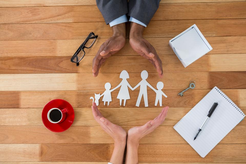 """""""Cutout paper chain family with the protection of hands"""" stock image"""