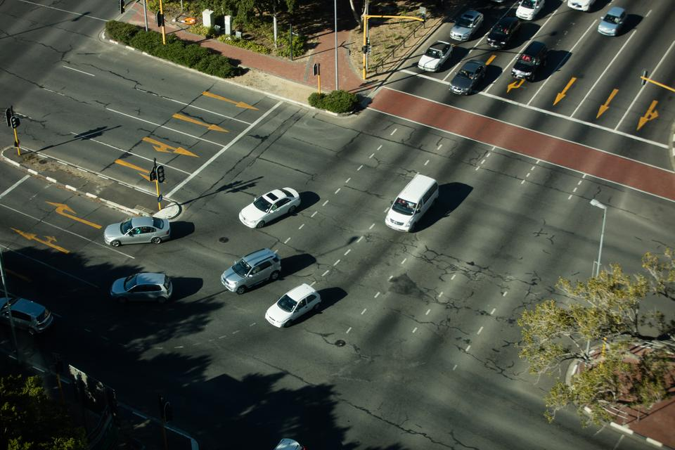 """""""High angle view of road intersection"""" stock image"""