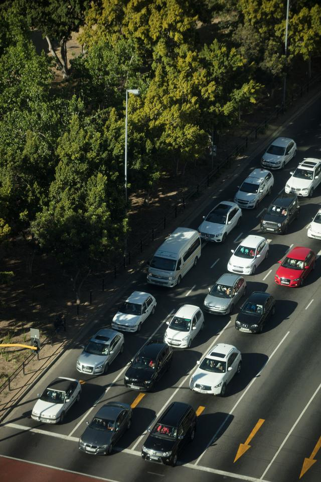 """""""High angle view of cars on road"""" stock image"""