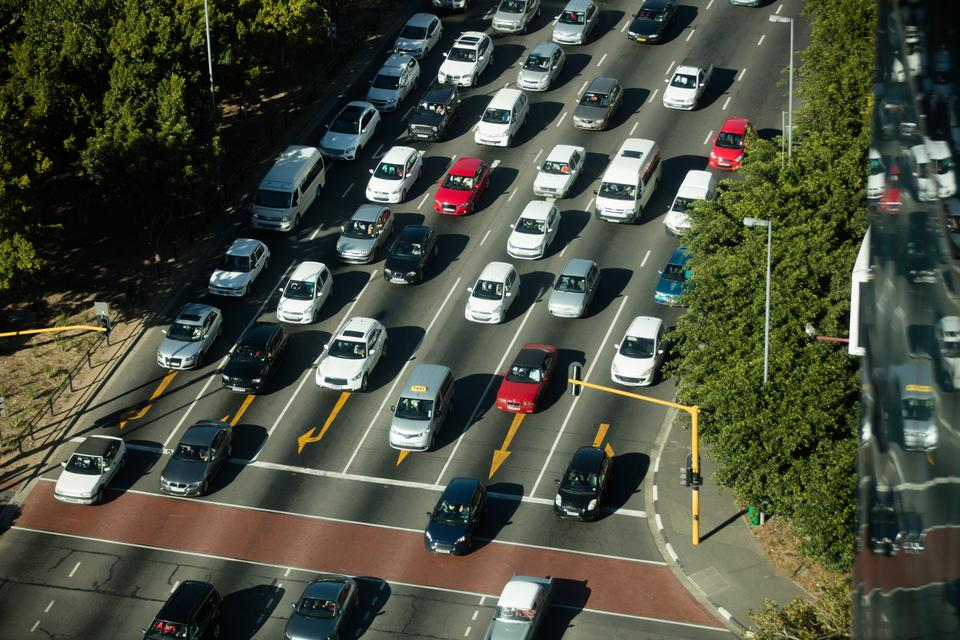 """""""High angle view of traffic on road"""" stock image"""