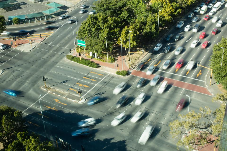 """""""Cars moving on road in city"""" stock image"""