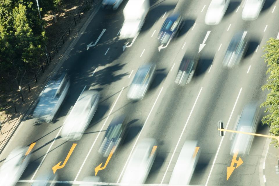 """""""Blurred cars moving on country road"""" stock image"""
