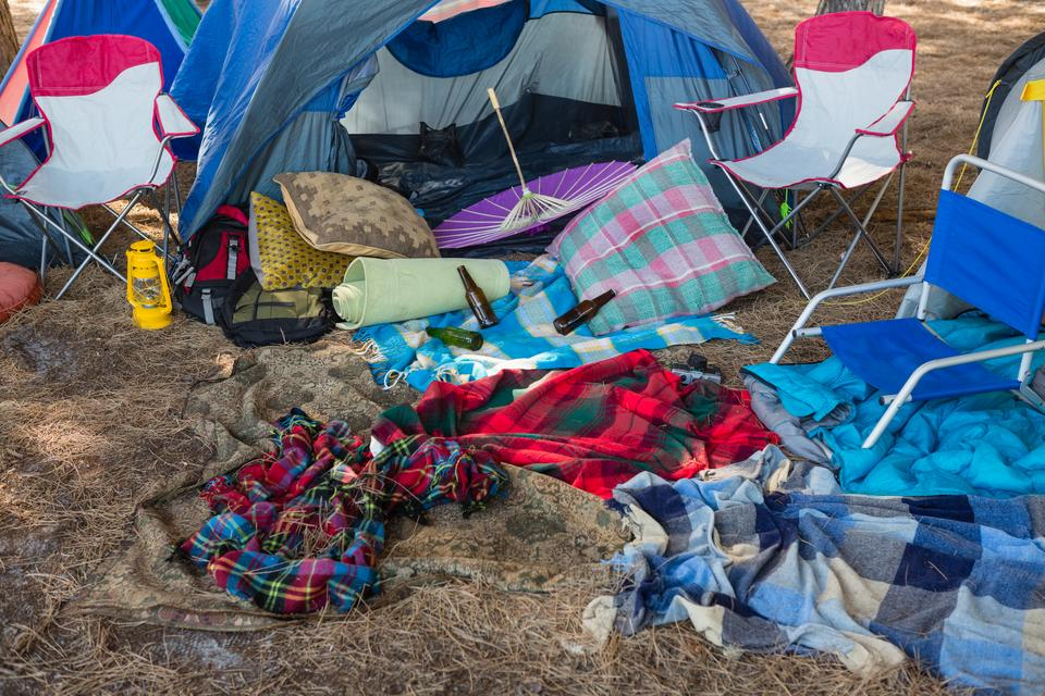 """""""Camping equipments in the park"""" stock image"""