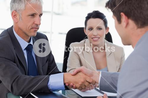 Business team concluding an agreement with a client