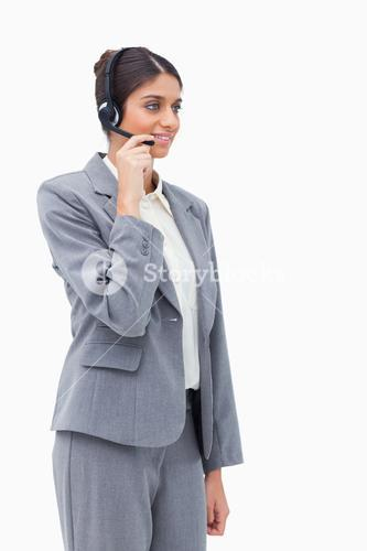 Call centre agent with headset