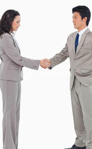Young sales people shaking hands