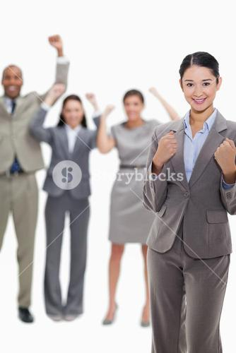 Close up of a successful business team