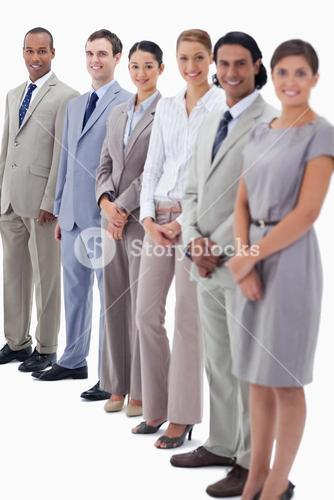 Happy business people looking straight