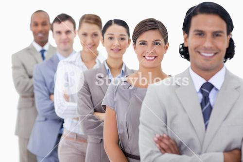 Big Close up of happy colleagues in a single line