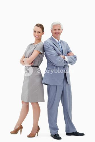 White hair businessman back-to-back with a woman