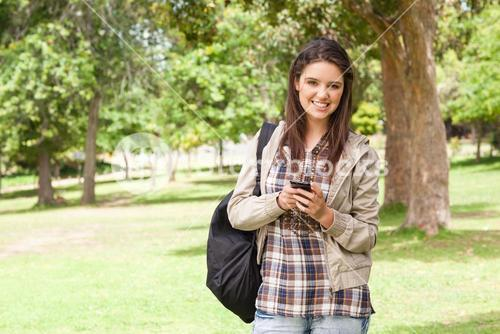 Firstyear student using a smartphone