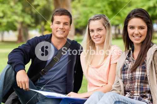 Portrait of students studying