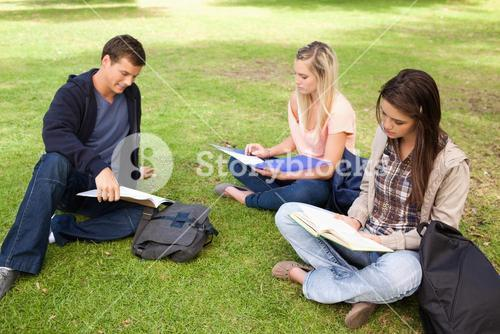 Three students studying together
