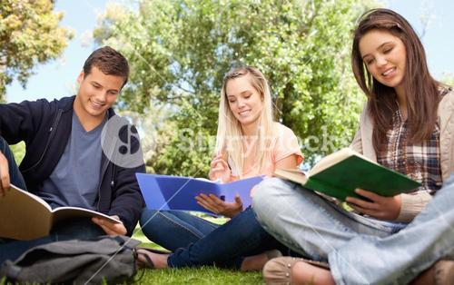 Low angleshot of young people studying