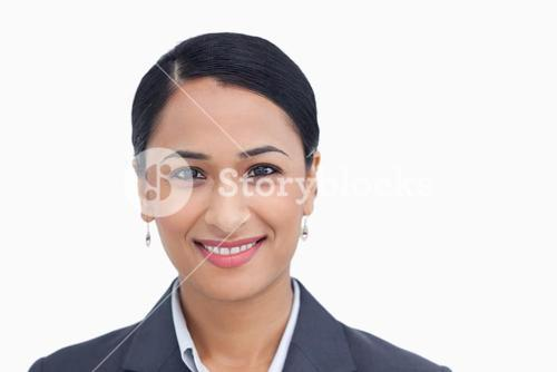 Close up of smiling saleswoman