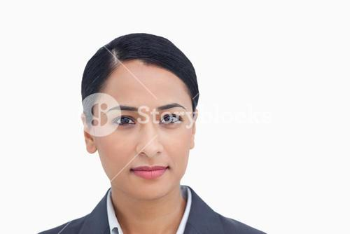 Close up of serious looking saleswoman