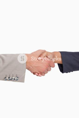 Side view of shaking hands of business people