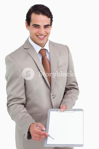 Smiling salesman asking for signature