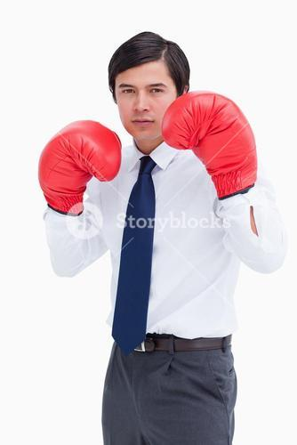 Young tradesman with boxing gloves